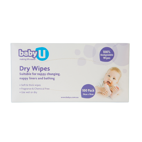 Baby U Dry Wipes 100pk Baby Nappy Change BabyU Natural Wipes Biodegradable Wipes