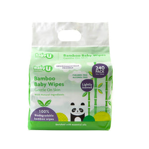 Baby U Baby Wipes Bamboo Wipes 240pk Baby Nappy Change BabyU Natural Wipes