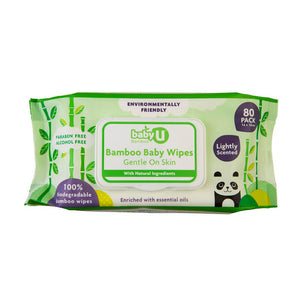 Baby U Baby Wipes Bamboo Wipes 80pk Baby Nappy Change BabyU Natural Wipes