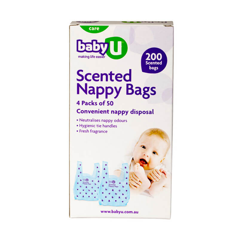 Baby U Scented Nappy Bags 200pk Scented Nappy Bags Disposable Baby Nappy BabyU