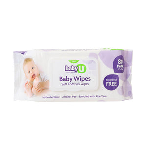 Baby U Baby Wipes Fragrance Free 80pk Baby Nappy Change BabyU Aloe Vera Wipes