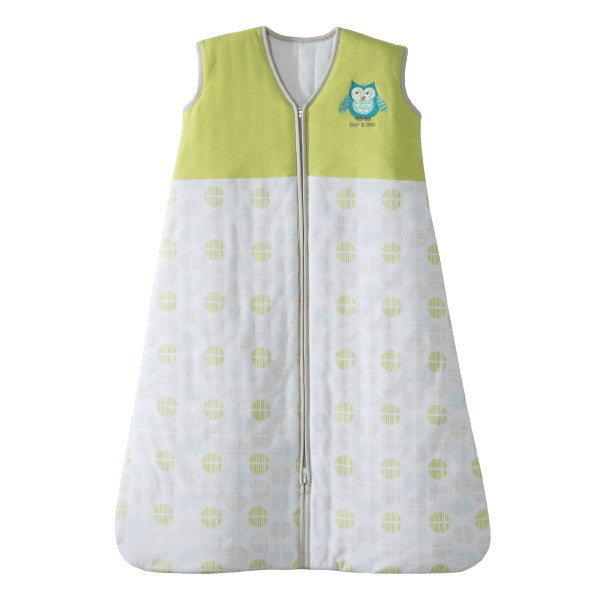 HALO Heavier Weight Bags: Green Owl: Medium Micro Fleece Swaddle