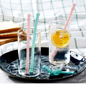 "Silicone straw set ""HAPPY"""