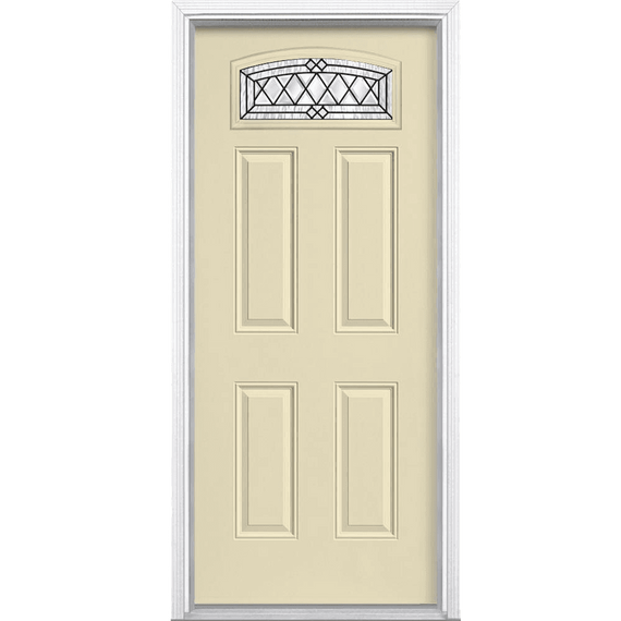 Halifax Camber Fan Lite Painted Smooth Fiberglass Prehung Front Door ...