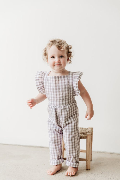 Grey Gingham Jumpsuit