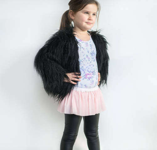 Black Shaggy Faux Fur - Black