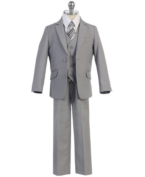 Boys 5 Piece Slim Suit - Grey