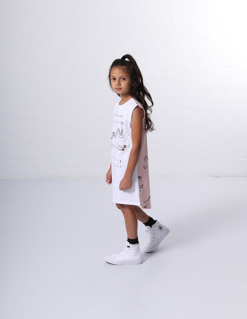 Minti Everything Unicorns Dress - White\Pink
