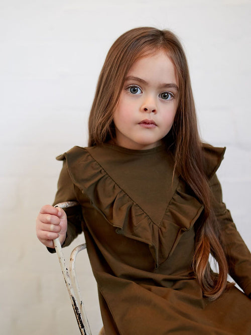 Dark Olive Frill V Dress