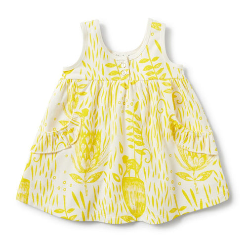 Ruffle Pocket Dress - Mellow Yellow