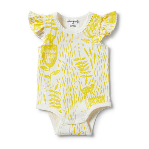 Flutter Sleeve Bodysuit - Mellow Yellow