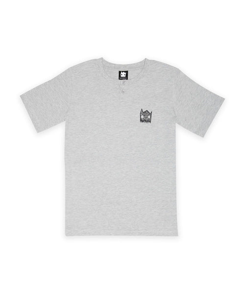 Organic Marle Grey Button Tee