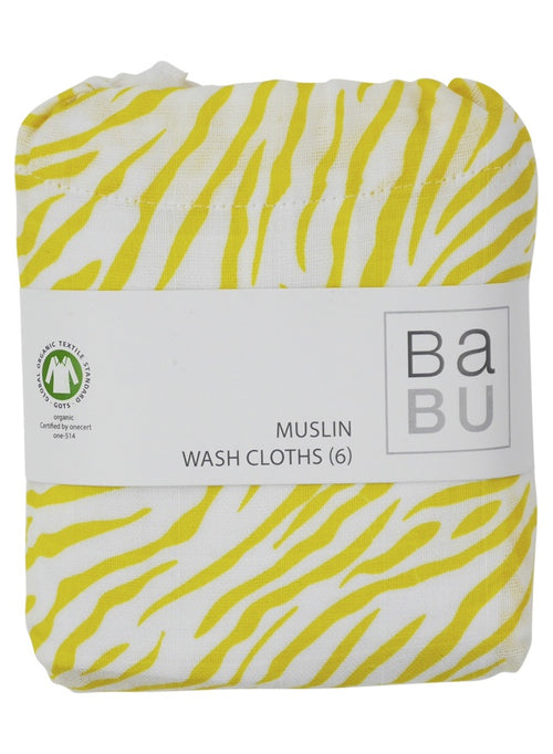 Muslin Wash Cloth Yellow Zebra
