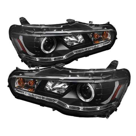Headlights - Spyder Auto | Black DRL LED Halo Projector Headlights With High H1 And Low H7 Lights | Evo X
