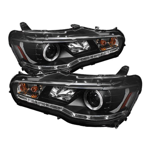 Headlights - Spyder Auto | Black DRL LED Halo Projector Headlights With High H1 Lights | Evo X