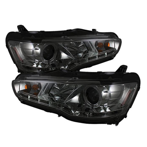 Headlights - Spyder Auto | Smoke DRL LED Halo Projector Headlights With High H1 Lights | Evo X