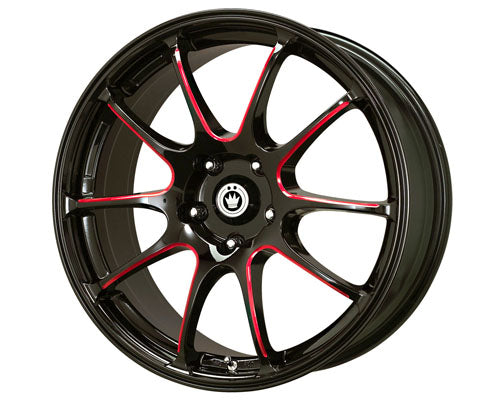 Konig Illusion 18X8  5x114.3  45mm Black/ Ball Red Cut Spoke