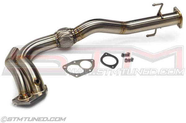 STM O2 Housing / Downpipe Combo DTA | 2003-2006 Mitsubishi Lancer Evolution 8/9 (EVO-O2-DP-AD)