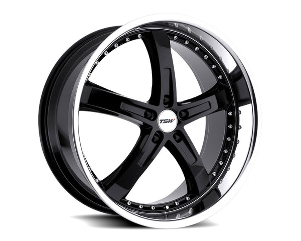 TSW Jarama Gloss Black w/Mirror Cut Lip Wheel 18x9.5 5x114.30 40mm