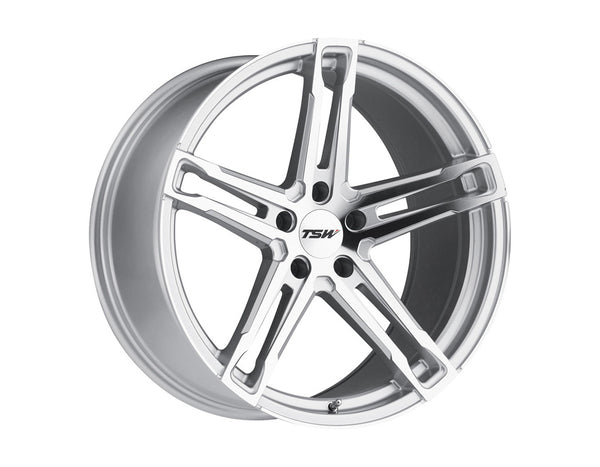 TSW Mechanica Silver w/Mirror Cut Face Wheel 18x8.5 5x114.3 15mm
