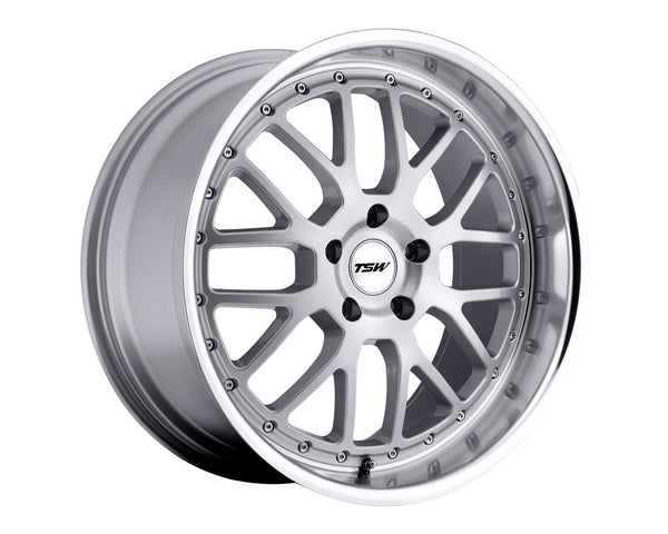 TSW Valencia Silver w/Mirror Cut Lip Wheel 18x9.5 5x114.3 40mm