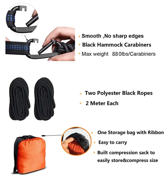 Reinforced Parachute hammock package contents