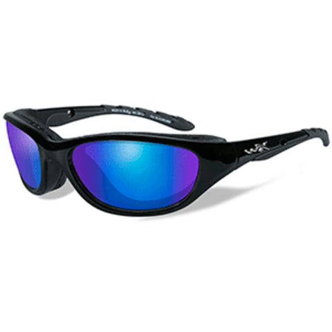 Wiley X Airrage Polarized Sunglasses - Blue Mirror Lens - Gloss Black