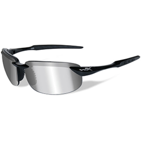 Wiley X Tobi Polarized Sunglasses - Silver Flash Lens - Gloss Black Fr