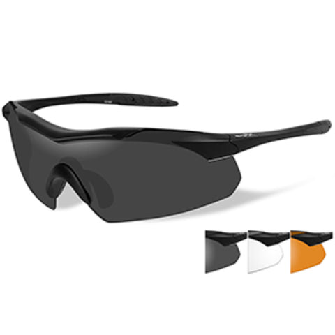 Wiley X Vapor Sunglasses - Smoke Grey/Clear/Rust Lens - Matte Black Fr