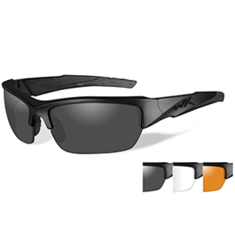 Wiley X Valor Sunglasses - Smoke Grey/Clear/Rust Lens - Matte Black Fr