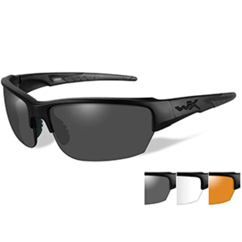 Wiley X Saint Sunglasses - Smoke Grey/Clear/Rust Lens - Matte Black Fr