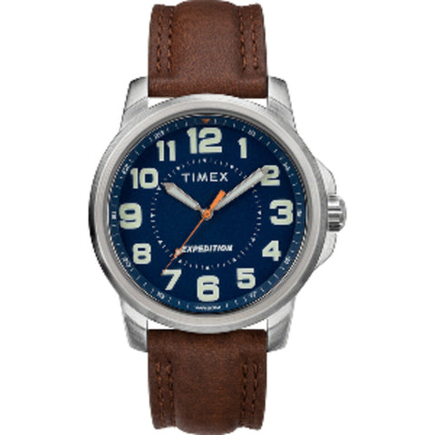 Timex Men's Expedition Metal Field Watch - Blue Dial/Brown Strap