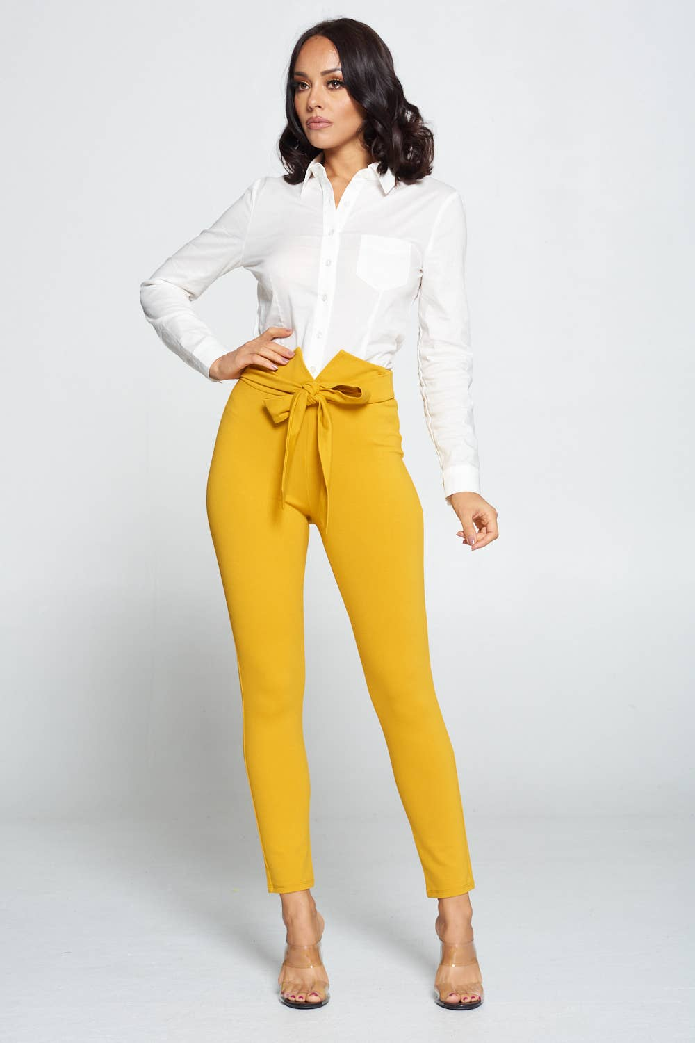 SELF RIBBON TIE PONTE MUSTARD PANTS