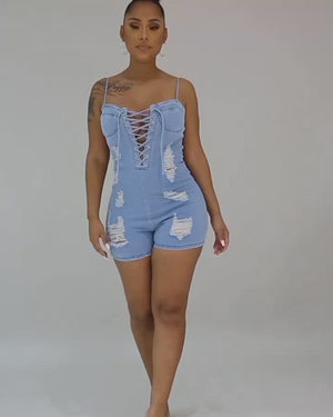 Sexy Lace up Denim Romper