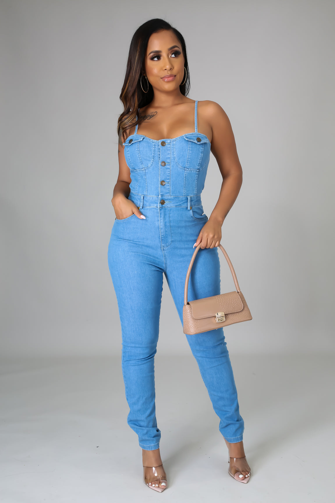 Denim off shoulders Jumpsuit