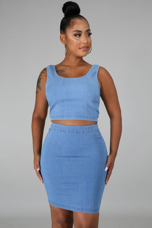 Denim Skirt 2 Piece Set