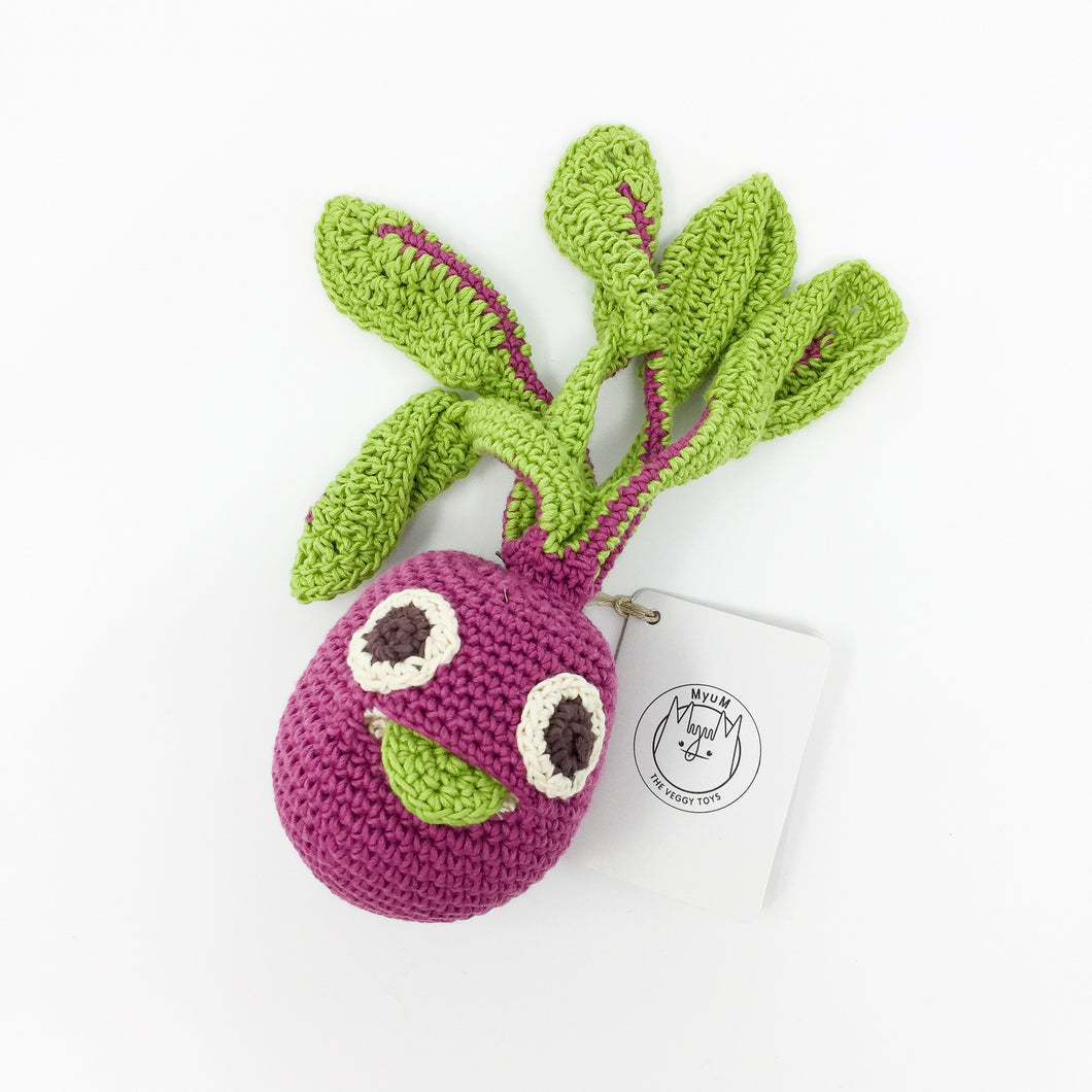 Organic Cotton Rattle – Beetroot