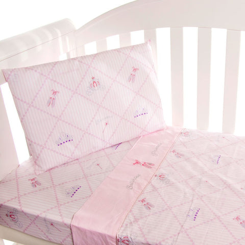 Amani Bebe Ballerina Princess 3pce Cot Sheet Set