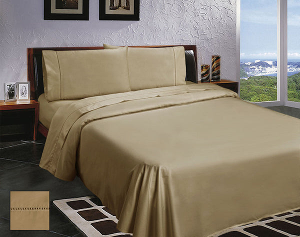 400 Thread Count Egyptian Cotton 4 Pieces Sateen Sheet Set by Ramesses