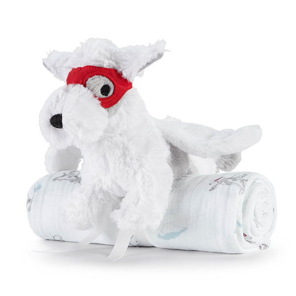 Liam The Brave Cuddly Companion Flying Dog Toy + Swaddle by Aden and Anais