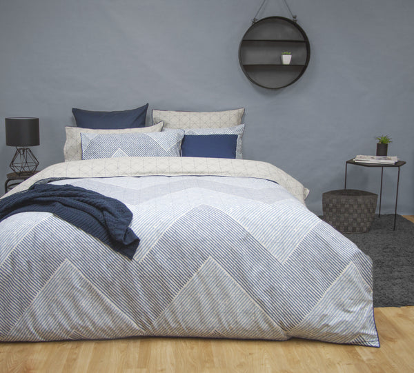 WESLEY CHAMBRAY 100% COTTON REVERSIBLE QUILT COVER SET