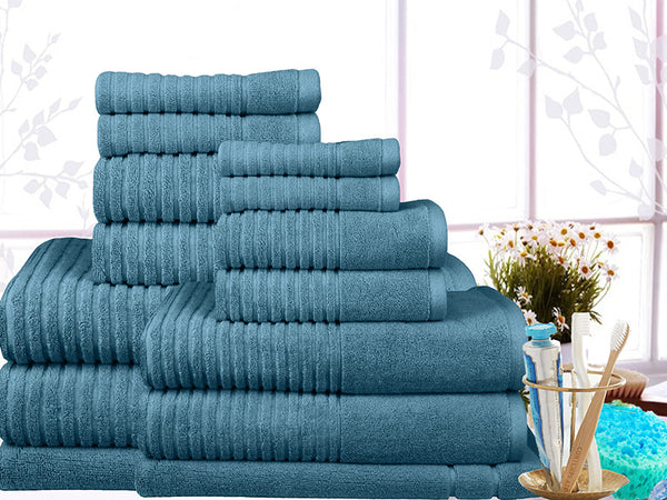 14 Pieces Ribbed Egyptian Cotton Towel Set 650gsm Ramesses