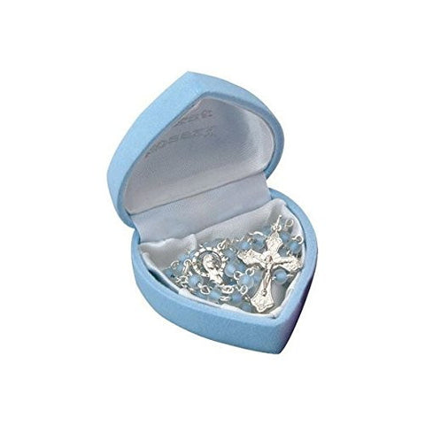 Baby Rosary in Blue Heart Shaped Box