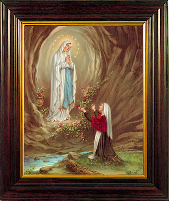 "Our Lady of Lourdes Image 8 x 10"" Framed"
