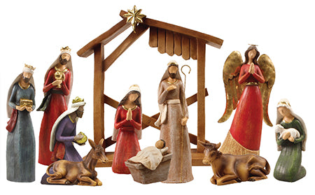 "Nativity Set - 10 resin figures 7 3/4"" with Stable"