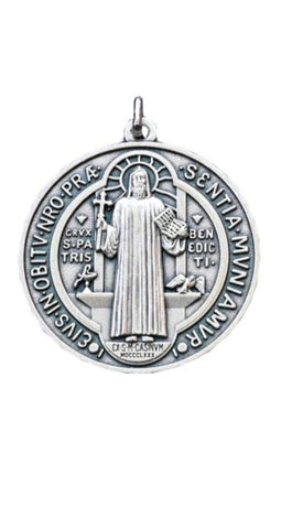 Large St. Benedict Medal - oxidised silver
