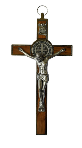 Olive Wood St. Benedict Wall Crucifix