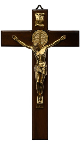 Wood St. Benedict Wall Crucifix with Gold plated Corpus