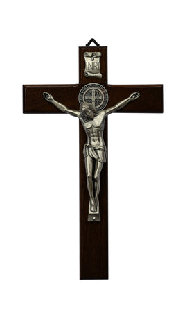 Wood St. Benedict Wall Crucifix with Silver Plated Corpus