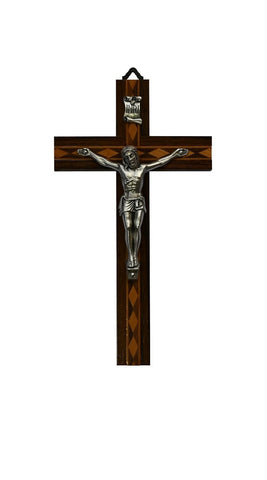 Wooden Crucifix - 2 toned inset